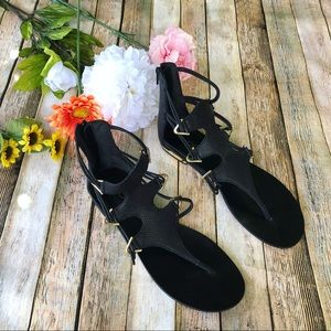Aldo black and gold gladiator sandals
